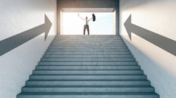 Business success concept with happy businessman on top of stairway at sunny spot background
