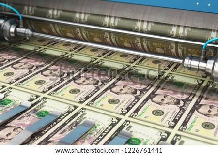 Business success, finance, banking, accounting and making money concept: 3D render illustration of printing 5 US dollar USD money paper cash banknotes on print machine in typography