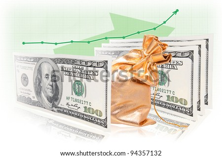 Business success formula: money - commodity - money with graph increment.