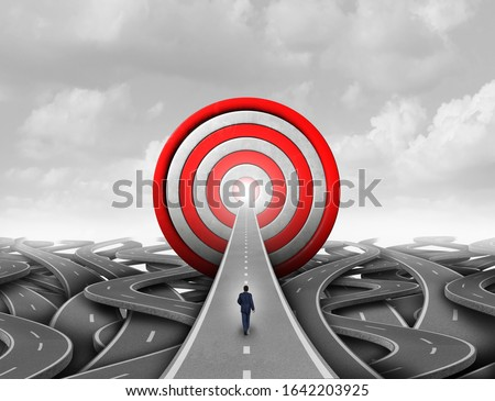 Business success goals and corporate strategy to succeed as a financial wealth concept and pathway to profit with 3D illustration elements.
