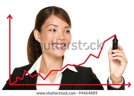 Business success growth chart. Business woman drawing graph showing profit growth on virtual screen. Asian businesswoman isolated on white background in suit.