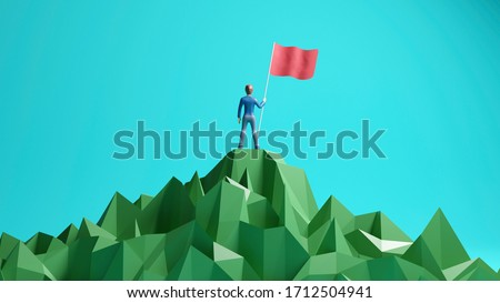 business, success, leadership, achievement and goal concept. Victory businessman with flag on mountain top. 3D rendering
