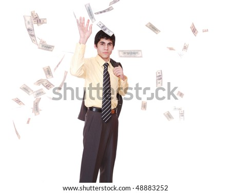 business success - man with lots of money
