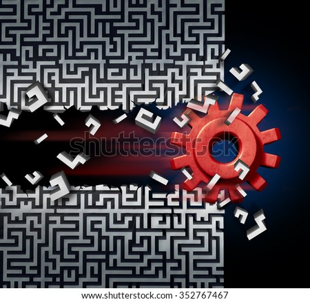 Business success solution concept as a machine gear or mechanical cog breaking through a maze or labyrinth as a metaphor for disruptive technology or ground breaking innovation. Foto d'archivio ©