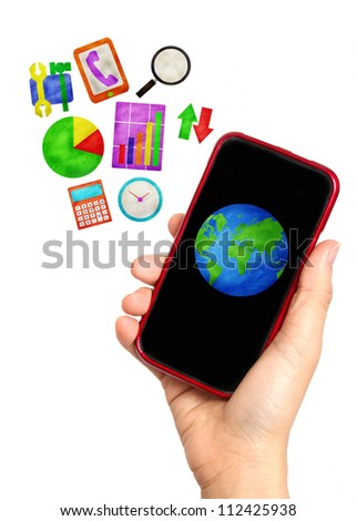 business symbol out of mobile phone