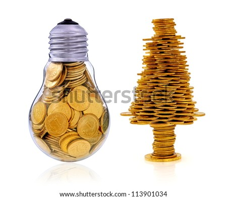 Business symbols and metaphors, happy tree and golden light bulb