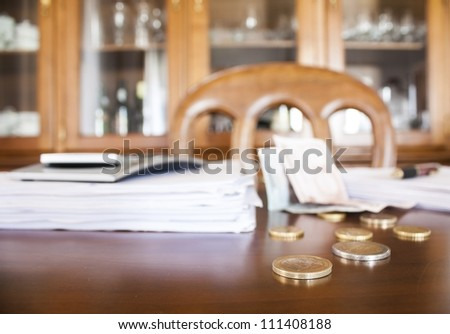 business table, accounts on the office