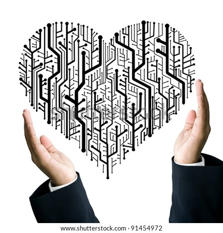 Business take care the circuit board in heart shape, Technology concept