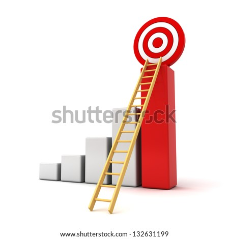 Business target concept , 3d business graph with wood ladder to the red target isolated over white background