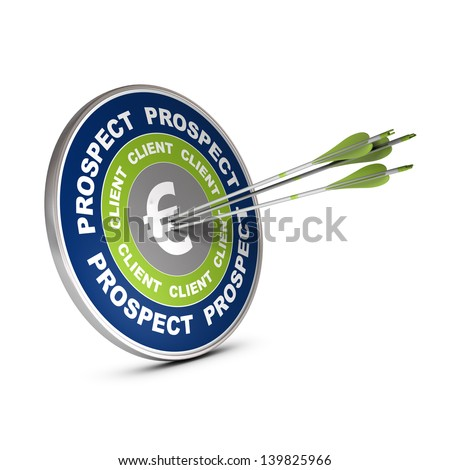 Business target with the words lead, client and euro symbol, three arrows hitting the center of the dart 3D render over white