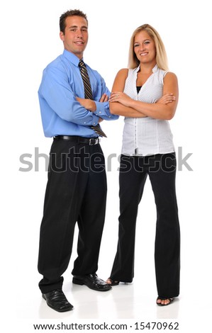 Business team a man and woman looking confident isolated on white
