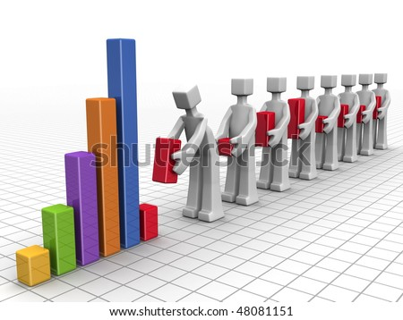 Business team adding indivitual performance bar chart to annual financial chart Stock photo ©