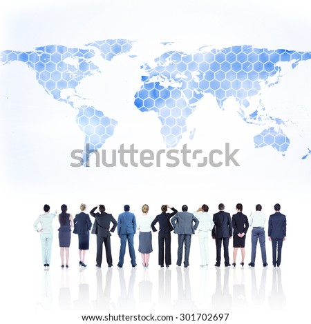 Business team against background with world map