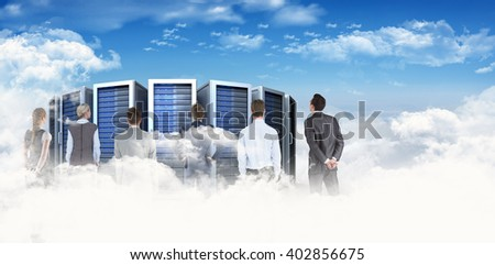 Business team against bright blue sky with clouds #402856675
