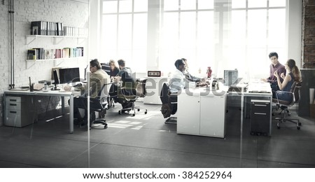 Business Team Busy Talking Workplace Concept