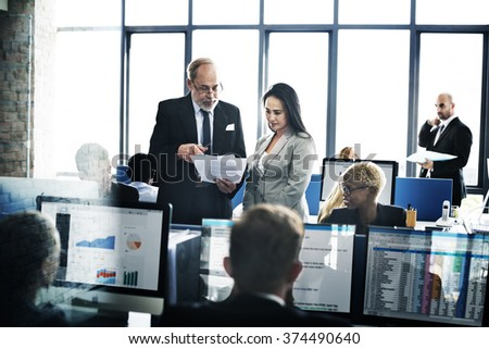 Business Team Busy Working Workplace Concept #374490640