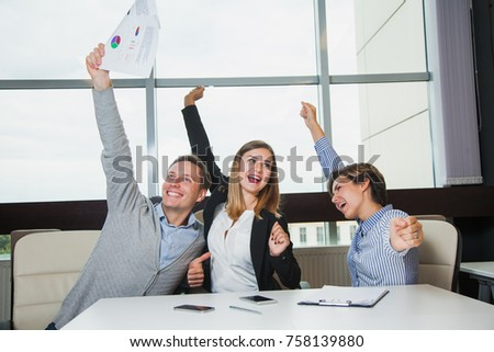 Business team celebrate victory success goal achievement happy smile expression positive emotion, three young students joyful about finishing course work #758139880