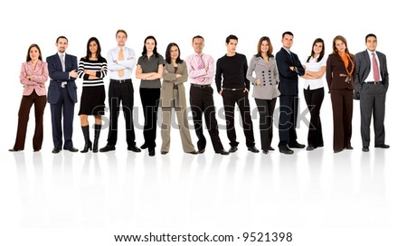 business team formed of young businessmen and businesswomen standing over a white background with reflections