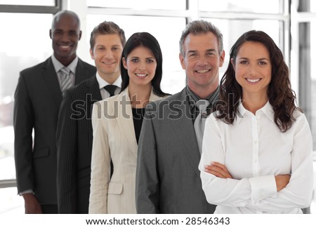 business team from different cultures looking at camera #28546343