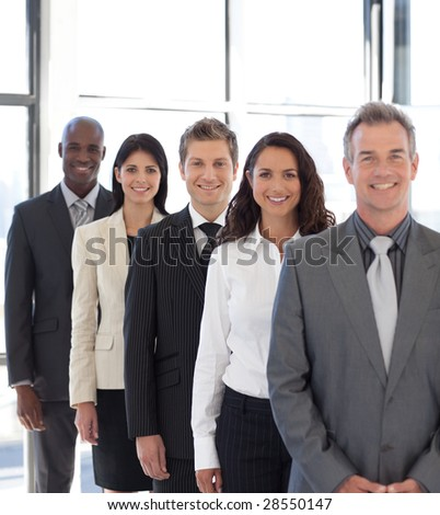 business team from different cultures looking at camera