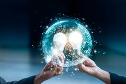Business team holding circle global and light bulb on social media communication internet network connection and data exchanges worldwide, business networking and technology concept