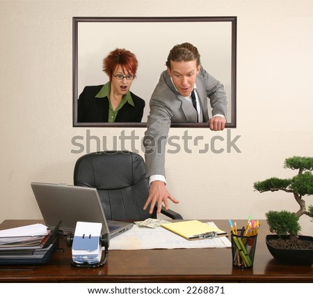 Business team in portrait on wall stealing money from desk.  USD.