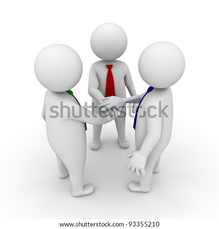 Business team joining hands concept on white background