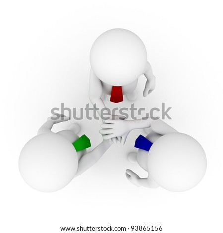 Business team joining hands on white background from top view