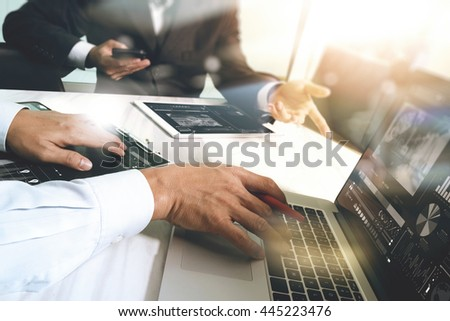 Business team meeting present. Photo professional investor working with new startup project. Finance managers meeting.Digital tablet laptop computer design smart phone using, Sun flare effect