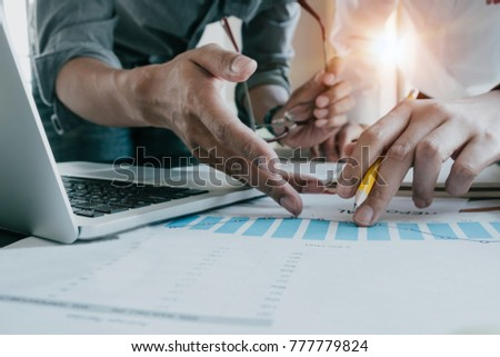Business team meeting present, Professional investor working with new startup project. Finance managers task with laptop computer, Business teamwork concept #777779824