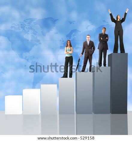 business team on a column chart
