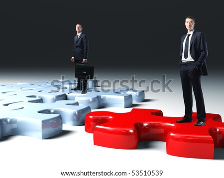 business team on 3d  jigsaw puzzle
