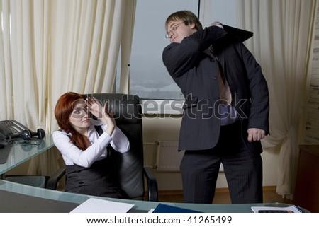 business team over modern office background furious clerk beats boss office people business office modern