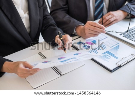 Business team partner meeting working and negotiation analyzing with financial data and marketing growth report graph presentation in team, Meeting Talking Brainstorming Communication Concept. #1458564146