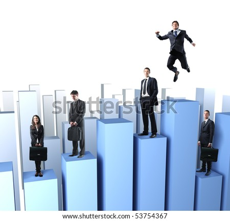 business team people on 3d stat