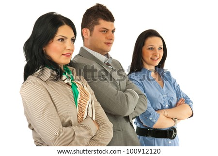Business team people standing with arms folded and looking to the future isolated on white background