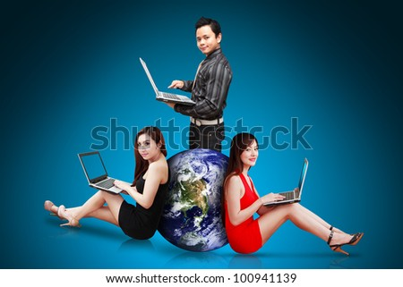 Business team portrait : Elements of this image furnished by NASA