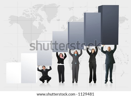 business team pushing a statistics chart up - showing growth
