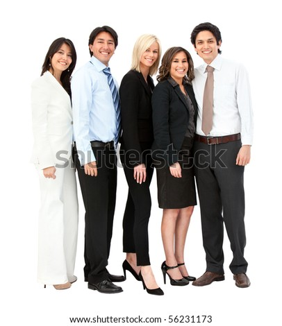 Business team smiling - isolated over a white background
