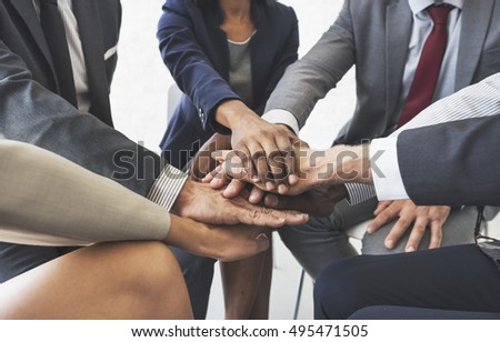 Business Team Stack Hands Support Concept #495471505