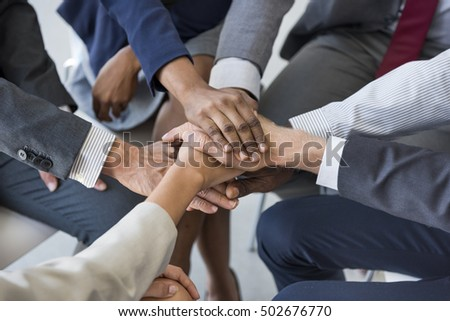 Business Team Stack Hands Support Concept #502676770