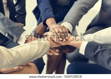 Business Team Stack Hands Support Concept #506918818