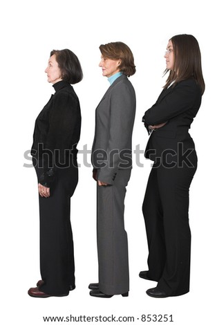 business team standing in a row - stock photo