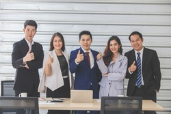 Business Team Success Achievement Arm Raised Concept. thumbs up concept. Business leaders with employees group showing thumbs up