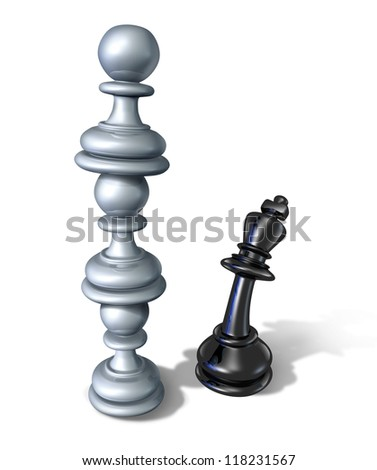 Business team symbol teaming up to defeat a powerful opponent with three chess pawns stacked on top of each other forming a strong partnership that towers over the fearful king as a winning strategy.
