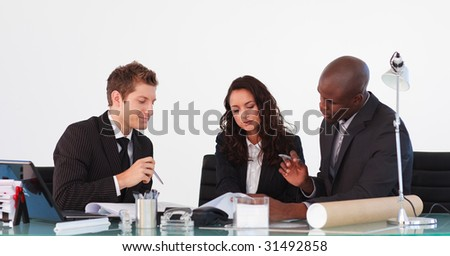 Business team talking to each other in a business meeting