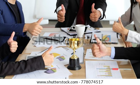 business team thump up their hands success  work  #778074517