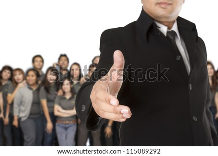 Business team welcome on white background