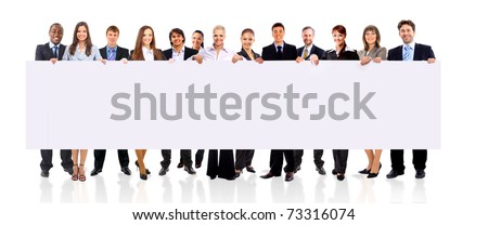 Business team with a banner isolated over a white background