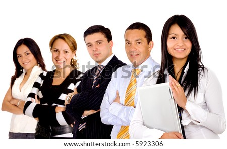 business team with a businesswoman leading it - isolated over a white background - stock photo